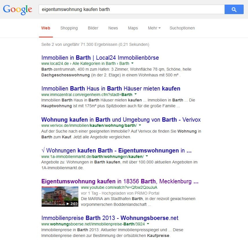 Videosuche in Google