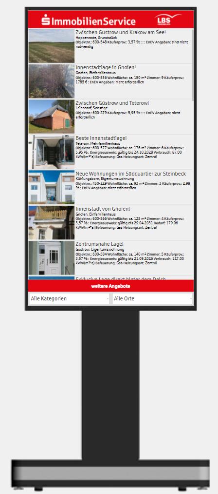 Immobilienpräsentation per Bildschirmstele
